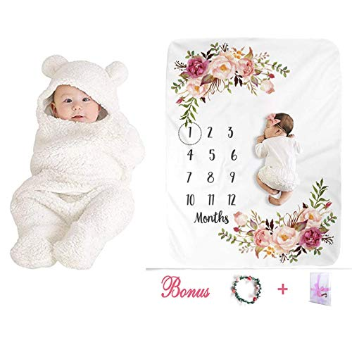 Newborn Baby Gifts Sets for Registry, Baby Plush Swaddle Blankets Baby Clothes & Baby Monthly Milestone Blankets