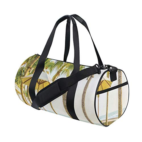 ZOMOY Gym Bag,Palm Trees Umbrella Chairs Around Swimming Pool Hotel Resort,New Canvas Print Bucket Sports Bag Fitness Bags Travel Duffel Luggage Canvas Handbag