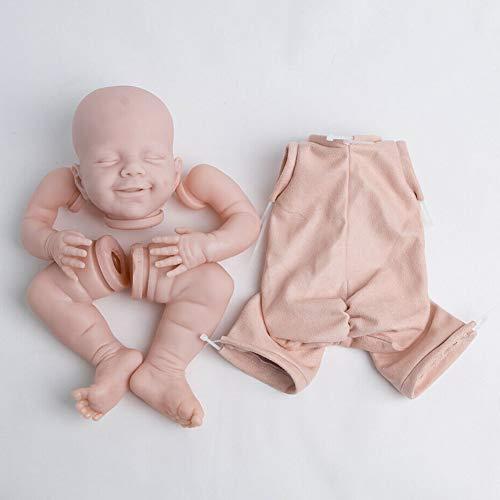 Reborn Doll Kit 22 pulgadas DIY Extremidades Cuerpo tela Sin pintar Suave Simulación Bebé durmiendo Regalo cumpleaños Realista No tóxico Divertido Juguete para niños Cabeza vinilo Recién nacid