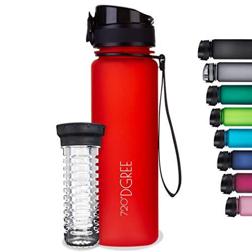 """720°DGREE Botella de Agua """"uberBottle"""" – 350ml, 500ml, 650ml, 1000ml, 1500ml   Impermeable y Reutilizable   para Beber Ideal para niños, Deporte, Escuela   Sin BPA   con Inserto de Fruta"""