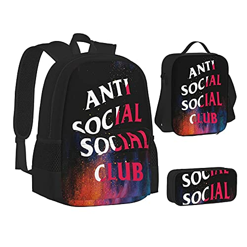 Anti Sociale Sociale Club Zaino Unisex Tre Pezzi Zaino Set Matita Box Pranzo Borsa