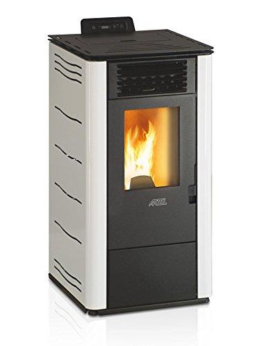 Krachtige, milieuvriendelijke pelletketel verwarmingsvermogen, 10,1 kW, witte kleur.