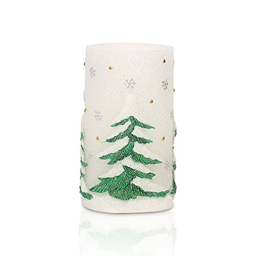 GiveU AM14X008 Green Tree Flameless Led Battery Operated Real Wax Candle with 4&8 Hour Timer for St.Patrick s Day Home Spring Decoration, 3x6inches