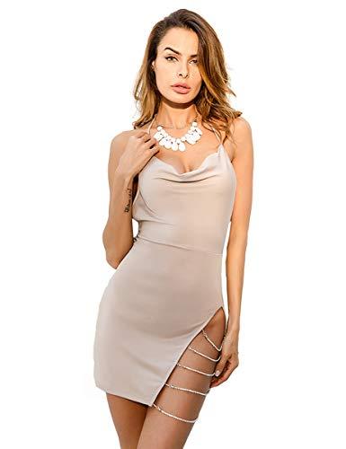 LATH.PIN Vestido sexy para mujer, cuello en V, sin mangas, vestido de túnica irregular, ideal para discoteca, cóctel, fiesta, ceremonia, noche beige M