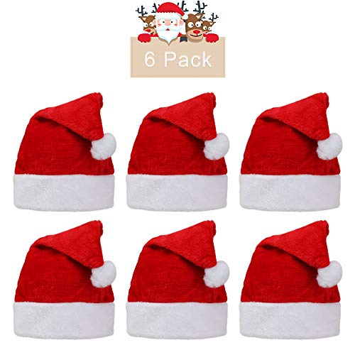6pcs Soft Plush Santa Hat Cap|Xmas Holiday Hat|Christmas Hats|Santa Claus Cap,for Christmas New Year Festive Holiday Party Supplies,Velvet Plush Super Soft Thickening for Adult and Kids