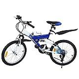 MuGuang Bicicleta de Montaña 20 Pulgadas Bicicleta Infantil 21 Speed Come with 500cc Kettle para Niños de 7 a 12 Años(Azul)