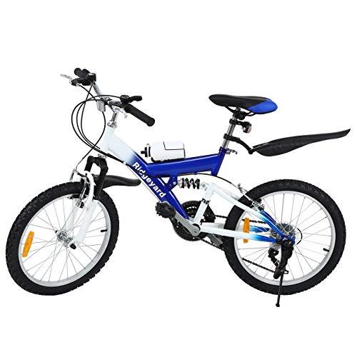 MuGuang Bicicleta de Montaña 20 Pulgadas Bicicleta Infantil 6 Speed Come with 500cc Kettle para Niños de 7 a 12 Años(Azul)