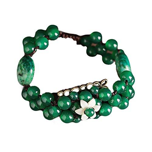 Hand Made Bracelet Tissé Vintage Charm Bracelets Métal et Agate Bracelets