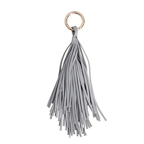 Fenical Quaste Taschenanhänger Schlüsselanhänger PU-Leder für Tasche Schlüssel (grau)