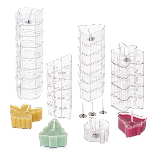 PandaHall 40 portavasos transparentes para velas de árbol de Navidad, portavelas de ángel, 100 mechas de parafina para hacer velas y decoraciones navideñas