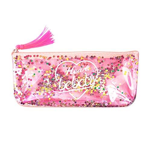 Anliyou Taschen Lang Portemonnaie Damen Kosmetiktasche Kupplung Federmäppchen mit Mobil Pailletten mutifunktional Geldbeutel Geldbörse Münzbörse für Mädchen Kinder Frauen Rosa Gold