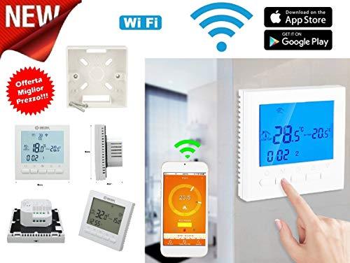 Cronotermostato WiFi control remoto online termostato smartphone Apple iOS Android caldera gas programable pantalla LCD APP gratuita AC220V 3A kit completo de caja
