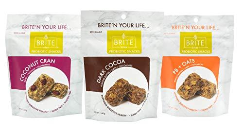 BRITE bites, Gluten & Dairy Free Snacks, Probiotics for Gut Health, Superfood Snack Bites, Plant-Based Foods, All-Natural Ingredients, Digestive & Immune Support, Variety Pack, 3 Flavors