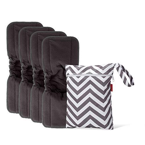 Damero Pañales Liners (4 piezas) con wet bag, Forros Reutilizable para Pañal, Insertos para Bebés Pañales Lavable, 5 capas, Fibra de bambú de carbón con pliegue elástico