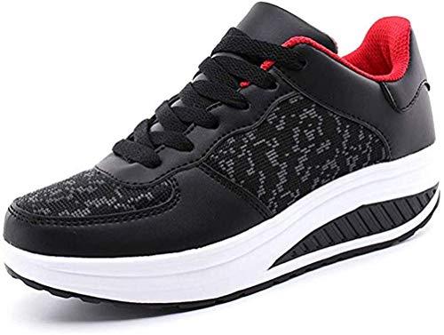 YUHUAWYH Mujer Zapatillas de Deporte Ligeras Caminar Zapatos Deportivos con Plataforma de Cuña para Niñas Adolescentes