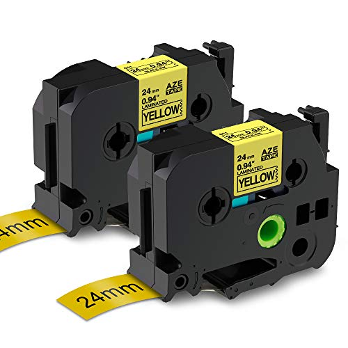 """Buyalot Compatible Label Tape Replacement for Brother Ptouch TZE-651 TZE651 TZ-651 Tape, 1"""" 24mm Standard Laminated Black on Yellow Label Tape Work with PTD600 PT-P900W PT-P950NW Label Maker, 2-Pack"""