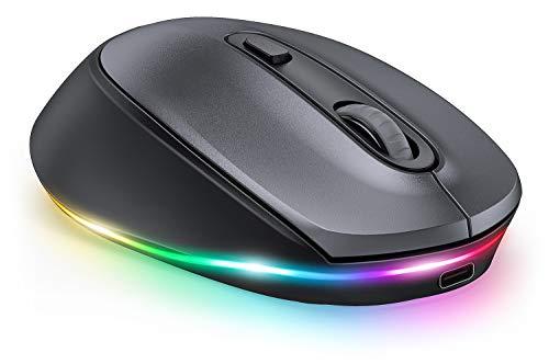 seenda Ratón inalámbrico LED con iluminación, silencioso, recargable, 3 modos (BT3.0 + BT5.0 + 2.4G), 2400 DPI compatible con ordenador portátil, PC, Mac, Android, tablet, color gris