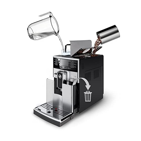 Saeco picobaristo super automatic espresso machine, 1. 8 l, stainless steel, hd8927/47 6 easily select one of 15 delicious drinks, or customize it to your taste with coffee equalizer and save it to one of 6 user profile our patented aquaclean water filter eliminates the need to descale for up to 5,000 cups get superior taste for 20,000 cups with our durable ceramic grinders