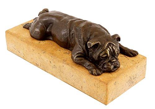 Kunst & Ambiente - Britische Bulldogge auf gelbem Natursteinsockel - Bronzefigur - signiert - Skulptur - Figur - Hund