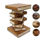 Oriental Galerie Nachttisch Beistelltisch Bücherhocker Tisch Hocker Buch Stapel Holz 50cm Groß Inkl. Südostasien Bildband als PDF Datei, Farbe:Hellbraun Creme