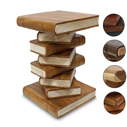 Oriental Galerie Bücherhocker Hocker Holzhocker Beistelltisch Nachttisch Buch Stapel 50cm Holz Akazie Hellbraun Creme Inkl. Südostasien Bildband als PDF Datei