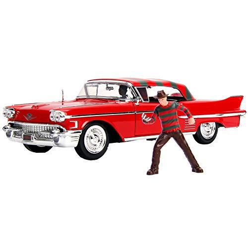 Druckguss 1:24 W/B - Metals - Hollywood Rides - Nightmare on ELM Street - 1958 Cadillac Serie 62 mit Freddy Krueger Figur 31102 von JADA