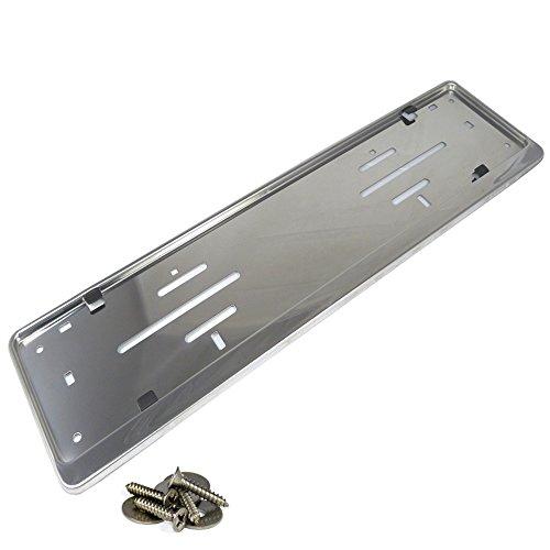 L&P Car Design GmbH L&P A199-1 Stück Kennzeichenhalter Edelstahl poliert Nummerschildhalter V2A spiegelpoliert 100% Edelstahl INOX C.4580 (1)