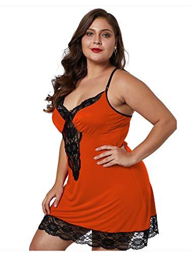 NNW Frauenpyjama Erotische Dessous Nachthemd Spitze Hosenträger Eisseide Sexy Kleider Große Größe,Orange,3X