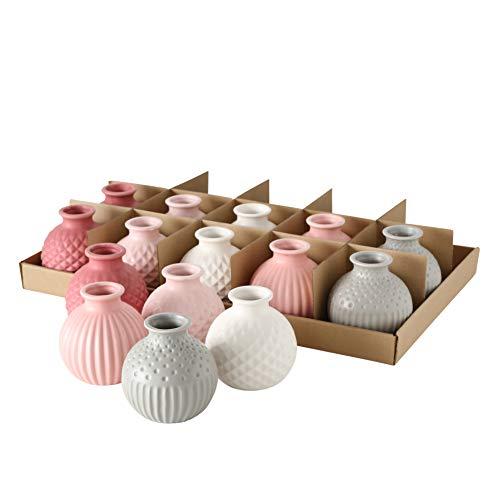 Boltze 5X Vase Djarla Keramik Farbmix Höhe 11 cm, Tischdekoration rosa weiß grau Pastell