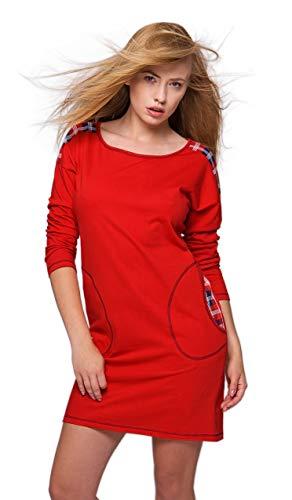 SENSIS edles und hochwertiges Baumwoll-Nachthemd Sleepshirt - Made in EU (XL (42), Rot/Dunkelblau mit Karos)