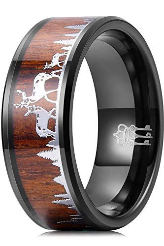 THREE KEYS JEWELRY Mens Rings Unique Tungsten Deer Forest Hunting Carbide for Man Ring 8mm Wedding Koa Wodden Band Gifts Bands Rings for Men Black Size 11