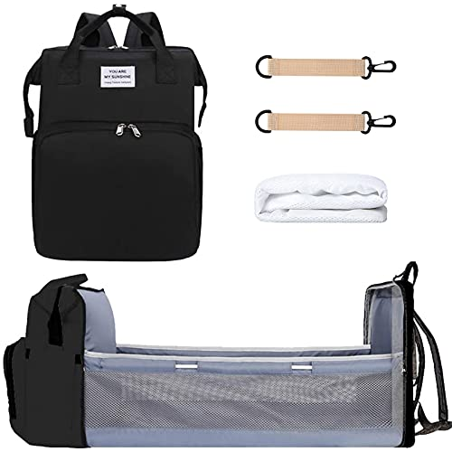 3 in 1 Diaper Bag Backpack with Changing Station, NIUTA 2021 Travel Bassinet Foldable Baby Bed with Insulated Pocket, Baby Bag Portable Crib, Large Capacity, Waterproof