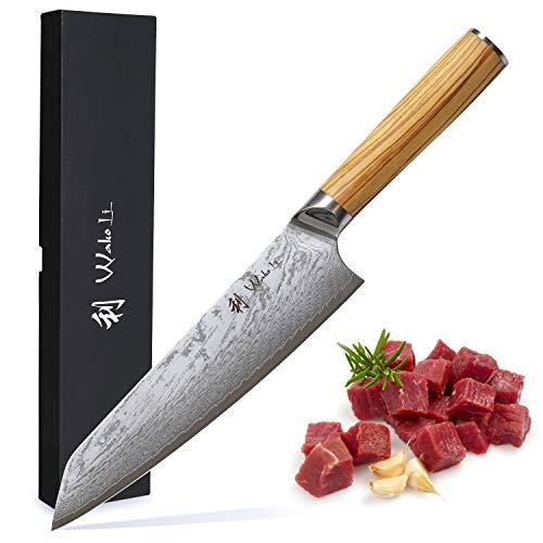 Wakoli Oribu Chefmesser 20 cm extrem scharfe Klinge aus 67 Lagen I Damast Küchenmesser und Profi Kochmesser aus echtem japanischen Damaststahl mit Griff aus Olivenholz