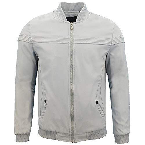 manadlian Veste Hommes Sweat Baseball en Cuir Jacket Hiver Vêtements de Sport Casual Manche Longue Moto Manteau Zipper Manteaux et Blousons