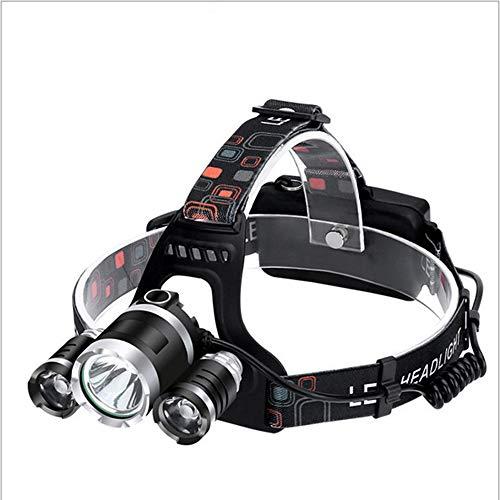 Iluminación LED para exteriores, luz de cabeza fuerte, impermeable, luz de acampada, pesca, ciclismo, faro, linterna recargable, linterna de alta pote.