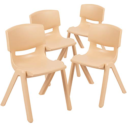 """Flash Furniture 4 Pack Natural Plastic Stackable School Chair with 13.25"""" Seat Height"""