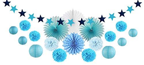SUNBEAUTY Party Dekoration Kit Blau Lampion Pompoms Sterngirlande Babydusche Deko (Blau)