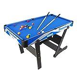 WJSWHW Table de Billard Pliable Stable et Moderne pour Enfants et Adultes avec queues, Balle, Craie, Support, Brosse Incluse Bleu