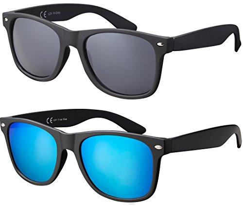 La Optica Original UV400 CAT 3 Unisex Sonnenbrille Nerd - Doppelpack Rubber Schwarz (Gläser: 1 x Grau, 1 x Hellblau verspiegelt)