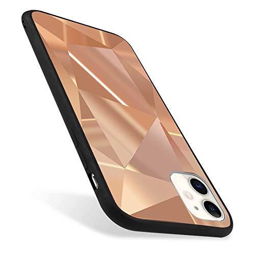 ROSEHUI Kompatibel mit iPhone 12 Pro Max Handyhülle Glitzern 3D Diamant Geometrische Muster Laser Glänzend Ultradünn Silikon Spiegel Schutzhülle,Roségold