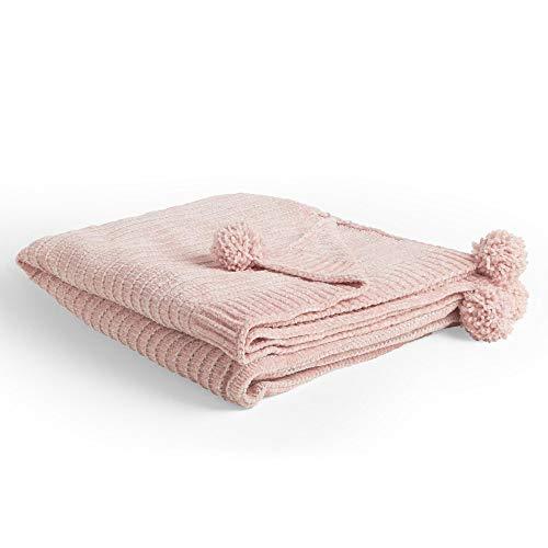 Beautify Gestrickte Decke mit Bommeln - Rosa Decke mit Metallischen Bommeln für Wohnzimmer - Rosa Überwurf für Schlafzimmer oder Wohnzimmer
