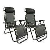 MaxxGarden Relax-Liegestuhl Set - Gartenstuhl Campingstuhl Liegestuhl – Sitzmöbel Garten Terrasse Balkon - Klappbar und verstellbar - Textoline - Schwarz - 2 STK