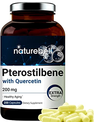 Maximum Strength Pterostilbene Quercetin Supplement, 200mg Per Serving, 200 Capsules, Strongly Supports Healthy Aging, Longevity and Enhances Memory, Concentration and Cardio Health, No GMOs