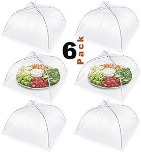 Pantalla Mosquitera para Alimentos, reutilizable y plegable al aire libre cubierta de alimentos, Pop Up Reutilizable Malla Protectora Alimentos, Mosquitera comida (Blanco, 6)