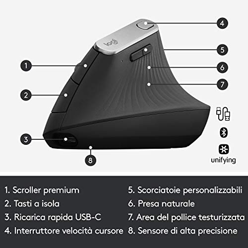Logitech MX Mouse Verticale Wireless Ergonomico, Multi-Dispositivo, Bluetooth o 2.4 GHz Ricevitore USB Unifying, Rilevamento Ottico Avanzato 4000 DPI, 4 Pulsanti, Ricarica Rapida, PC/Mac/iPadOS, Nero