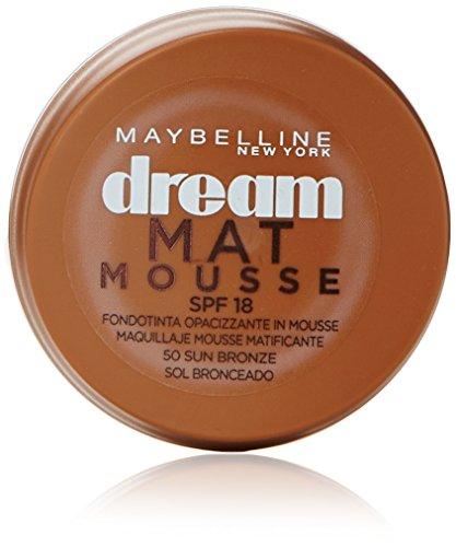 Maybelline New York - Dream Mat Mousse, Base de Maquillaje en Mousse, Tono 50 Sol Bronceado