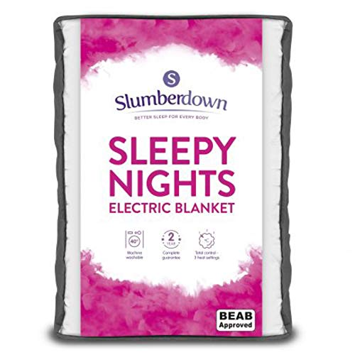Slumberdown Sleepy Nights Quilted Electric Blanket with 3 Heat Settings, King Size