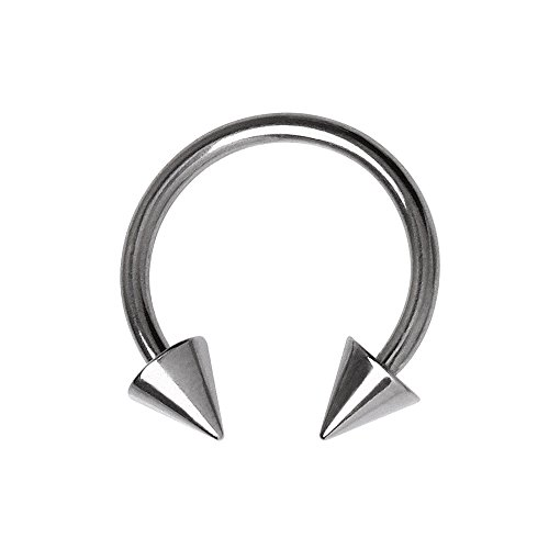 Double Spike Stainless Steel Horseshoe Surgical Steel 5mm x 16mm Universal Body Jewellery