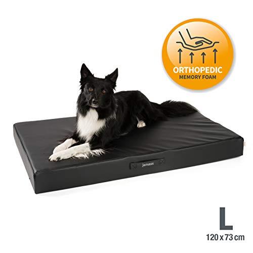 JAMAXX Premium Kunstleder - Orthopädische Matratze mit Memory Schaumstoff, Abwaschbare Matte/Abnehmbarer Bezug Wasserabweisend/Hunde-Bett mit funktionalem Visco Schaumstoff PDB1017-120x73 (L) schwarz