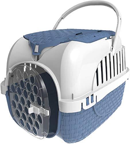 PETGARD Transportbox Hundebox Katzenbox Maxy Tour 59 x 38 x 37 cm inkl. gratis Napf blau